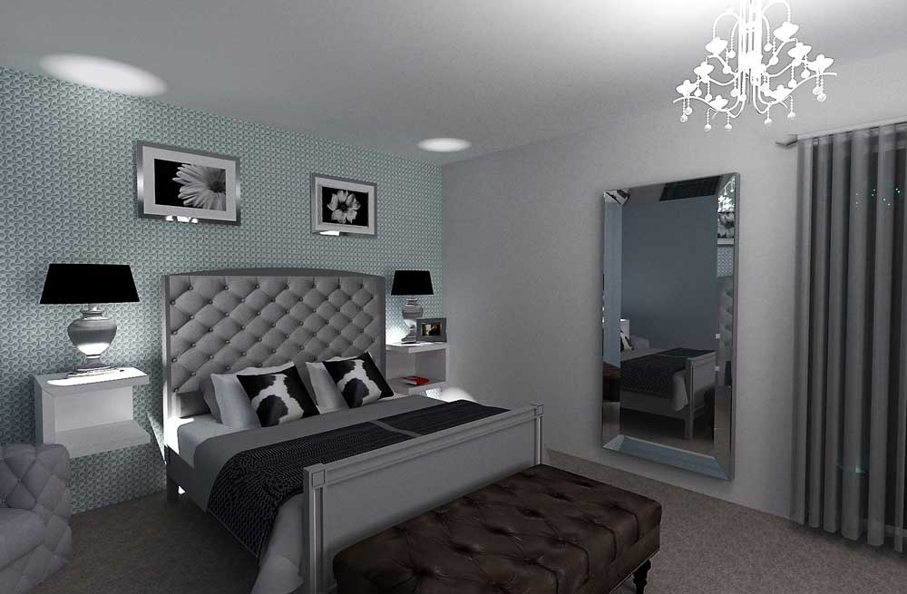Master bedroom 3d plan interior design