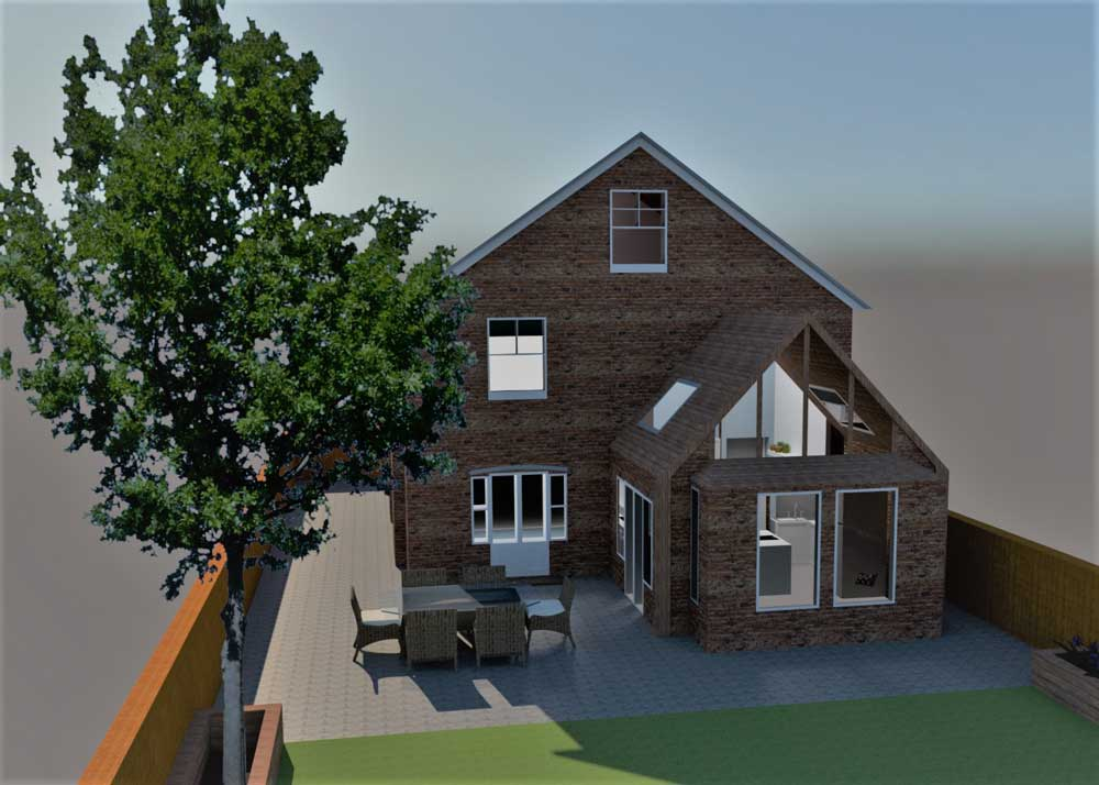 Private house 3d plan rear elevation